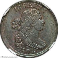 1804 Half Cent NGC AU58 Half Cent