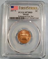 """2017 /""""S/"""" 1C PCGS SP70 First Strike Enhanced Uncirculated Lincoln Shield Cent"""