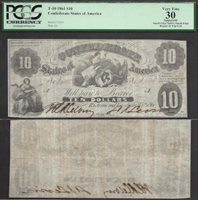$10 1861 CONFEDERATE Liberty seated T10 RETAIL $1100 PCGS VF 30