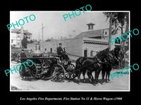 OLD POSTCARD SIZE PHOTO OF LOS ANGELES FIRE DEPARTMENT STATION 11 WAGON c1900