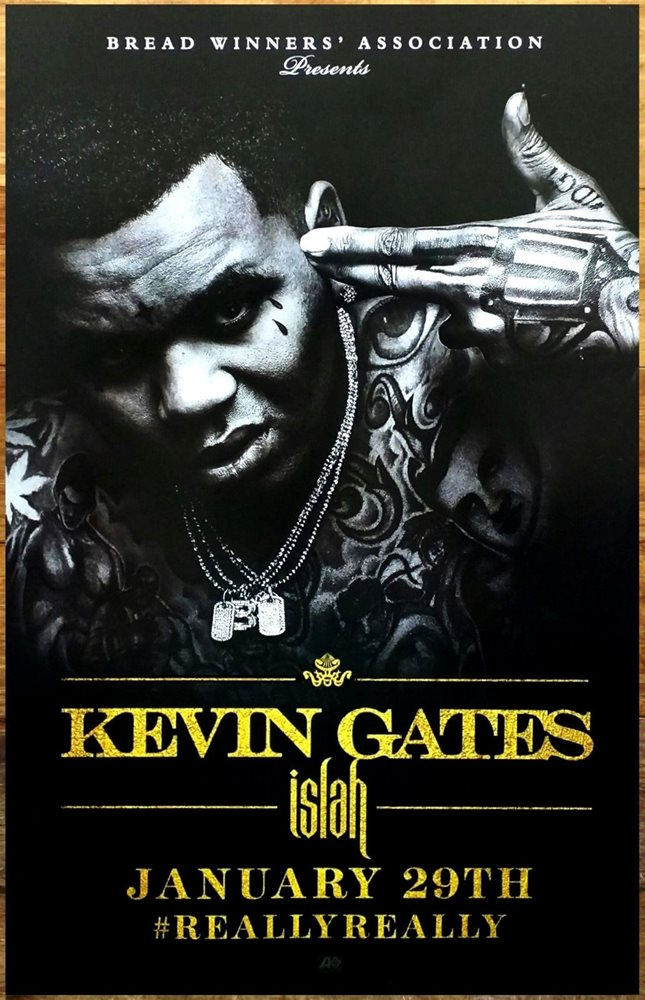 KEVIN GATES Islah Ltd Ed Discontinued New RARE Poster +FREE Hip-Hop Rap  Poster!