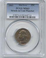 1963 Washington Quarter PCGS MS-63 Struck on Cent Plan. Struck on a Copper Cent planchet. Earlier year. Error Coins