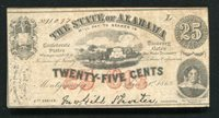 1863 25 CENTS THE STATE OF ALABAMA MONTGOMERY, AL OBSOLETE SCRIP NOTE