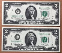 """(2) 1976 TWO DOLLAR AU FEDERAL RESERVE LOW NUMBER NOTES """"CRISP"""" NICE FREE SHIP"""