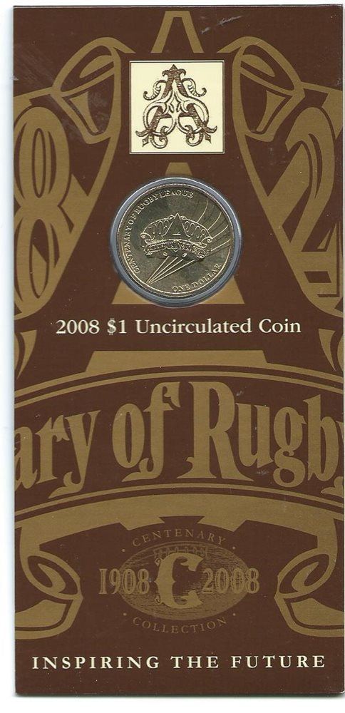 RUGBY LEAGUE 2008 Australia UNC $1 Coin Centenary Collection