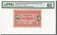 1 Franc 1917 Senegal Banknote, Km:2c, graded, Pmg, 6009131-014