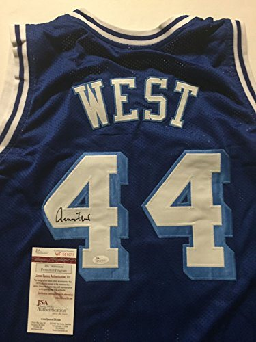 4333c1a315f5 Autographed Signed Jerry West Los Angeles LA Lakers Blue Basketball Jersey  JSA COA. Click To Enlarge
