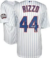 6b9c9e9ea42 Anthony Rizzo Chicago Cubs 2016 MLB World Series Champions Autographed  Majestic White Replica World Series Jersey