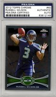 Russell Wilson Autographed 2012 Topps Chrome Rookie Card Seahawks PSA #83812148