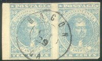 """CSA #2 Paterson Horz Pair USED (4-Margin but close on the right butwith a small left sheet margin) with a neat strike of the small double circleMacon, Ga CDS 29 OCT (1862). Signed """"OK Dietz"""" on the back. VeryFine."""