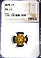 1874 Indian Princess Gold Dollar, NGC MS 65, Tag number 3826171-002