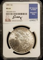 1898 Morgan Silver Dollar $1 NGC MS64 Edmund Moy Hand Signed Mint Director
