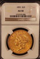 1855 $20 AU58 NGC