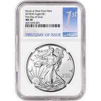First Day of Issue 2018- American Silver Eagle NGC MS69 W 1st Label