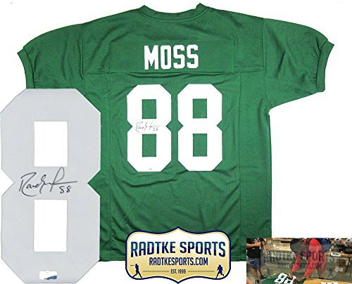 official photos c6f6b ea8ae Randy Moss Autographed/Signed Marshall Thundering Herd Throwback Green  Custom Jersey