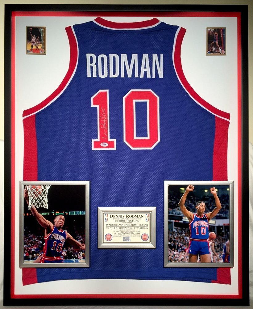 more photos bacd0 c358c Premium Framed Dennis Rodman Autographed Signed Memorabilia Detroit Pistons  Jersey PSA/DNACUSTOM FRAME YOUR JERSEY