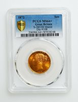 PCGS MS64+ 1872 Great Britain Gold Sovereign, Young Victoria, high grade! K10053