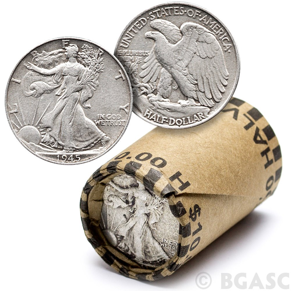 Silver Walking Liberty Half Dollars Avg Circ 90/% U.S $10 Face Roll 20 coins