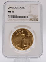 2005 NGC MS69 $50 Gold American Eagle
