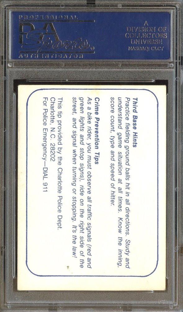 Cal Ripken Jr 1980 Police ORANGE Border Charlotte O's PSA 2 Baltimore  Orioles