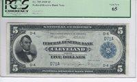 Fr. 785 1918 $5 CLEVELAND FEDERAL RESERVE BANK NOTE **PCGS GRADED: GEM NEW 65**