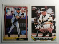 Topps Gary Varsho Auto Lot Autograph Signed Card Pirates Cubs 1992, 1993