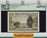 500 Francs West African States Ivory Coast Pcgs 66 Ppq Finest Known!