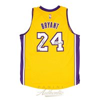 Kobe Bryant Autographed Adidas Gold Lakers Swingman Jersey with