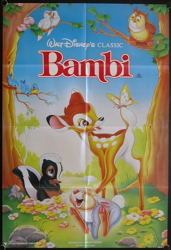 Bambi 1942 Australian One Sheet Rr Walt Disney
